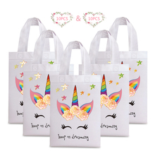 20PCS Hot Sale Unicorn Shopping Bag Laminated Waterproof Non-woven Gift Kids Birthday Party Tote Bags