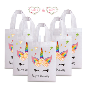 Image 1 - 20PCS Hot Sale Unicorn Shopping Bag Laminated Waterproof Non woven Gift Bag Kids Birthday Party Gift Tote Bag Unicorn Party Bags