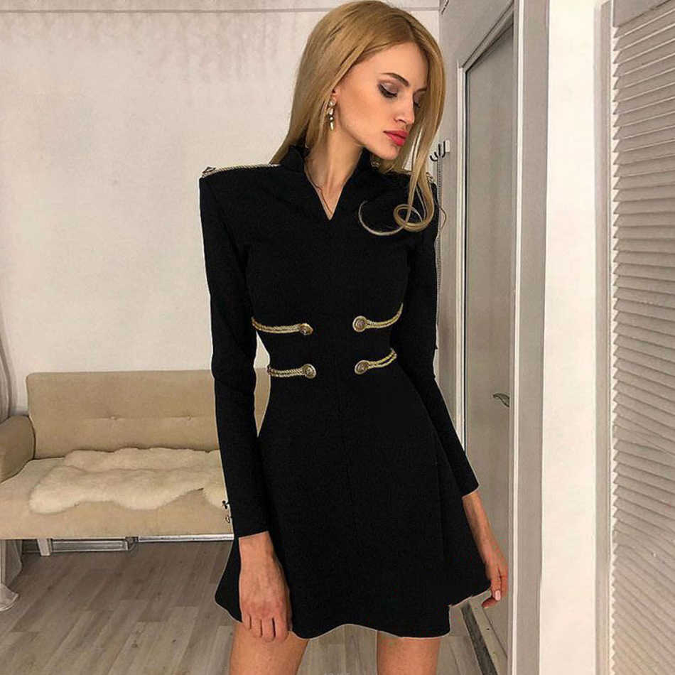 Adyce 2019 New Summer Bandage Dress Women Sexy Long Sleeve Black O Neck  Mini Club Dress 2f042bffe