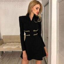 Adyce 2019 New Winter Black Bandage Dress Women Sexy Long Sleeve O Neck Mini Club Vestidos Elegant Celebrity Party