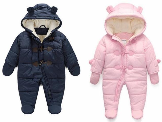 Nuevo 2016, ropa de invierno, ropa, traje para la nieve, mameluco del bebé, ropa gruesa caliente, recién nacido, general del bebé, la muchacha del muchacho del mono, 3-18 M