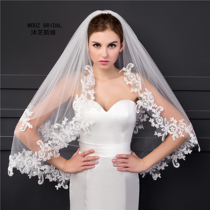 Elbow Length Veil in Stock 2018 Two Layers Appliques Lace Soft Tulle Wedding Bridal Veils with Metal Comb термопот convito wb 16