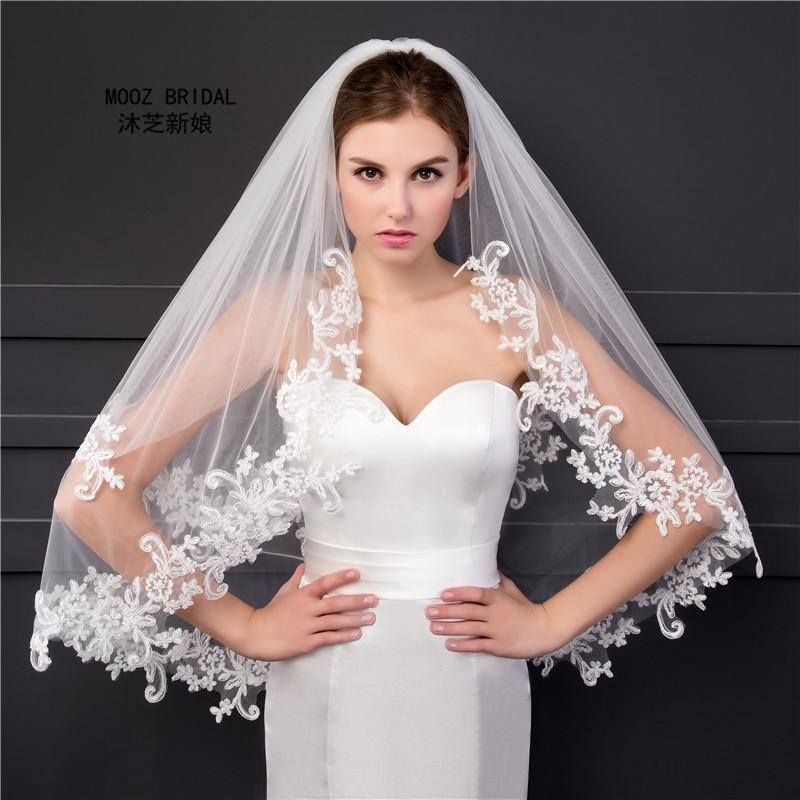Elbow Length Veil in Stock 2018 Two Layers Appliques Lace Soft Tulle Wedding Bridal Veils with Metal Comb ювелирные кольца karmonia серебряное кольцо с опалами и сапфирами