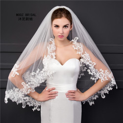 Elbow Length Veil in Stock 2018 Two Layers Appliques Lace Soft Tulle Wedding Bridal Veils with Metal Comb