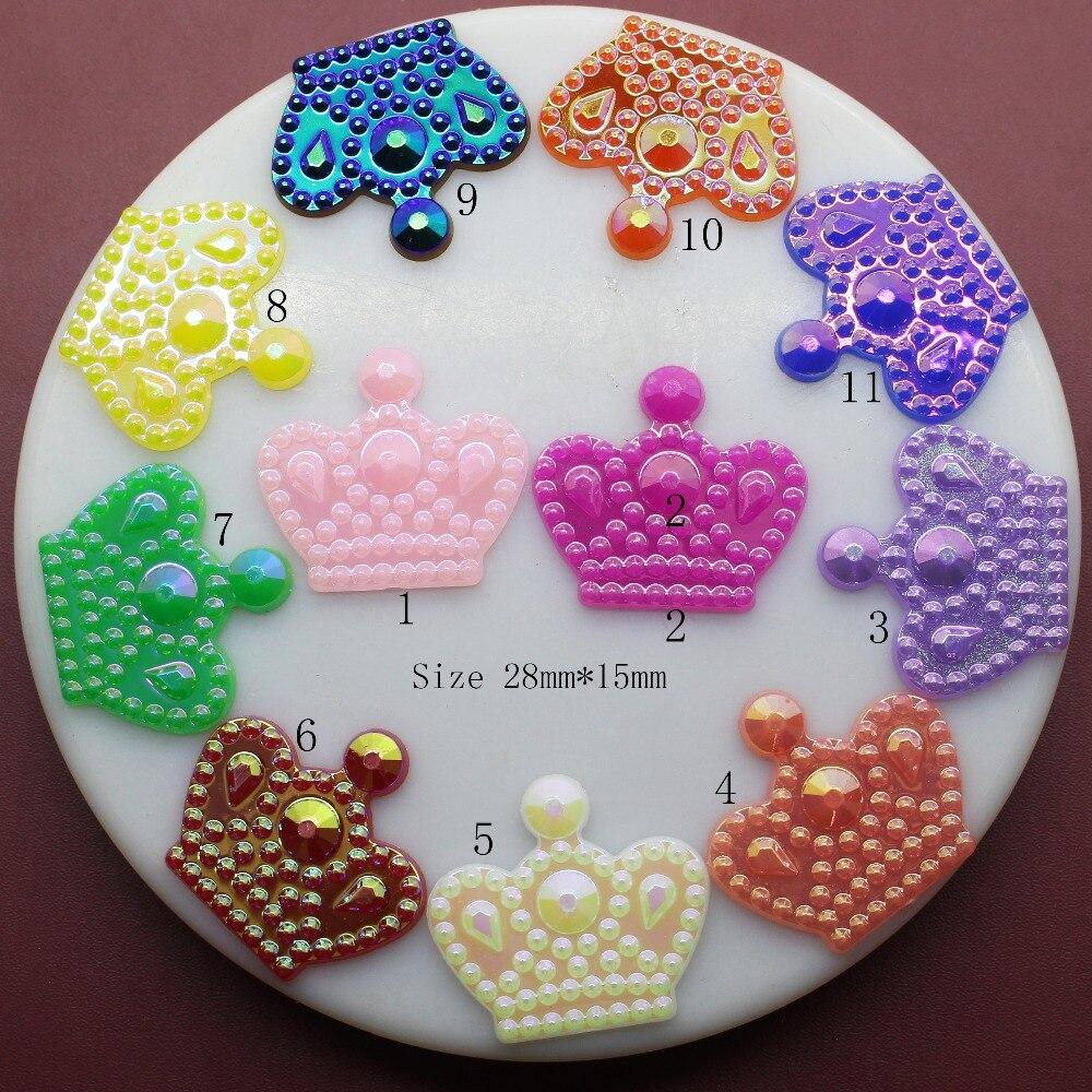 Hair bow button accessories - 10pcs Lot 28 25mm Multicolour Acryl Crown Button Children Hat Diy Craft Appliques Sewing
