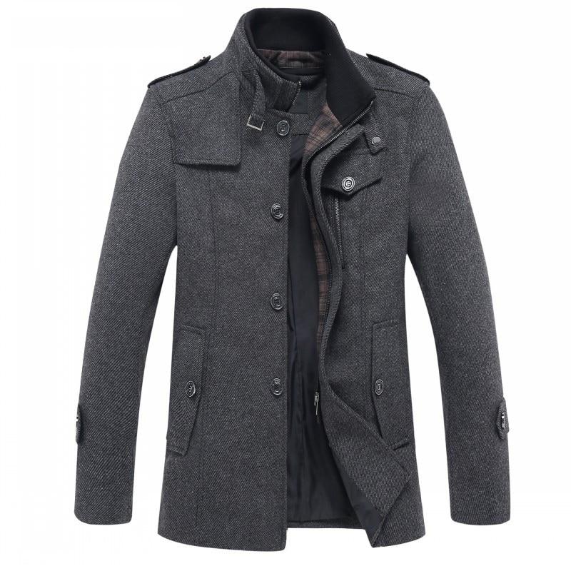 2019 winter Men's fashion leisure Men's thicking trench coat woollen overcoat men single breasted coat jackets windbreaker