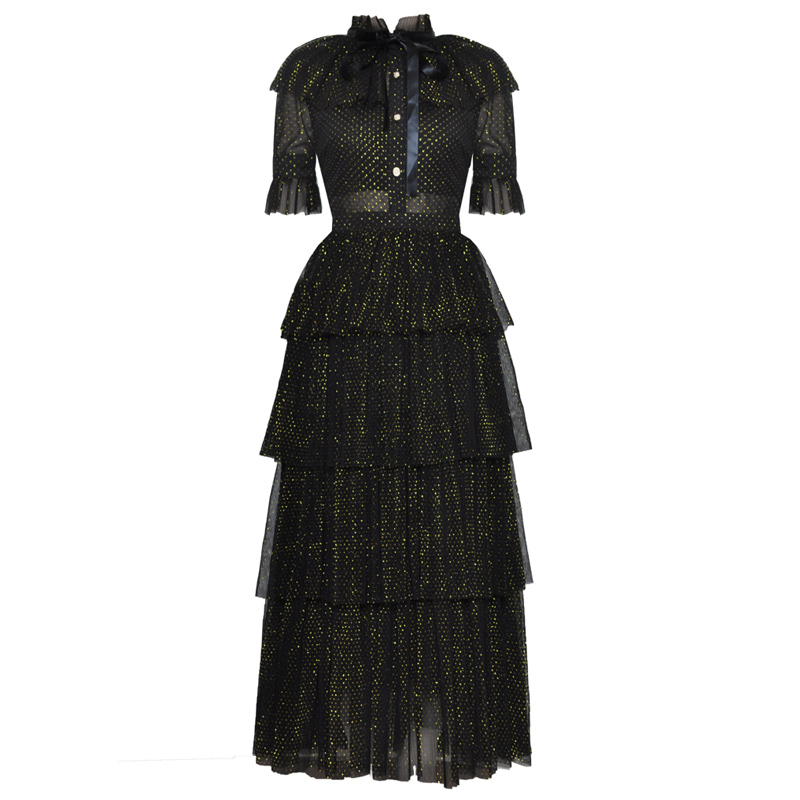 runway style women vintage clothing shining golden glitters black mesh dress tie bow ruffle collar cape