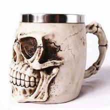 hot unique resin skull coffee mug stainless steel liner creepy 3d skull coffee milk mug cup tankard novelty for halloween decor
