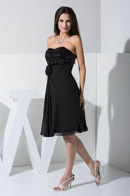076fcaa83 Ms-22 elegantes junior school longitud de la rodilla gasa vestido de lentejuelas  brillantes negro