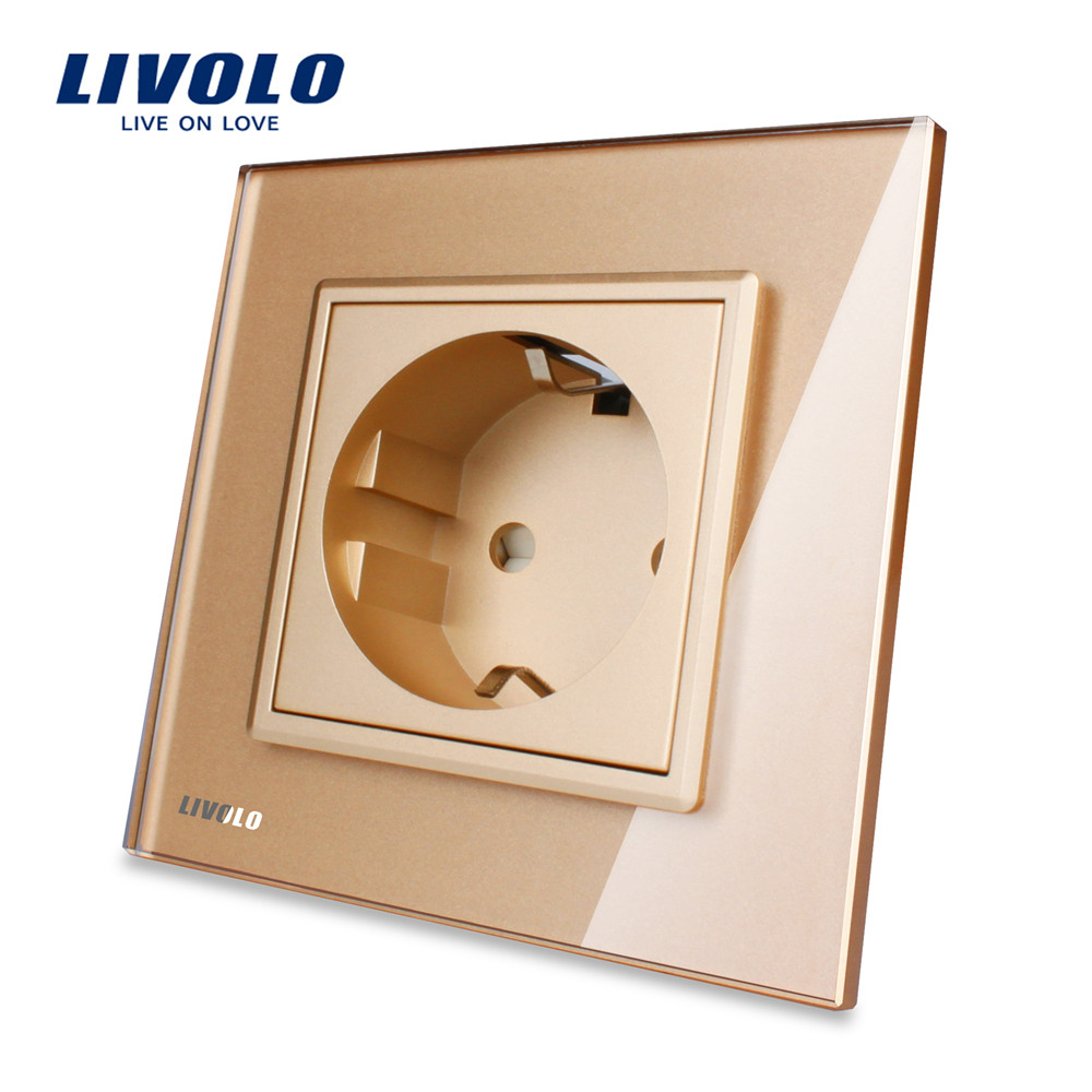 Free Shipping,Livolo EU Standard Power Socket, Golden Crystal Glass Panel, AC 110~250V 16A Wall Power Socket, VL-C7C1EU-13 люстра потолочная коллекция ampollo 786102 золото коньячный lightstar лайтстар