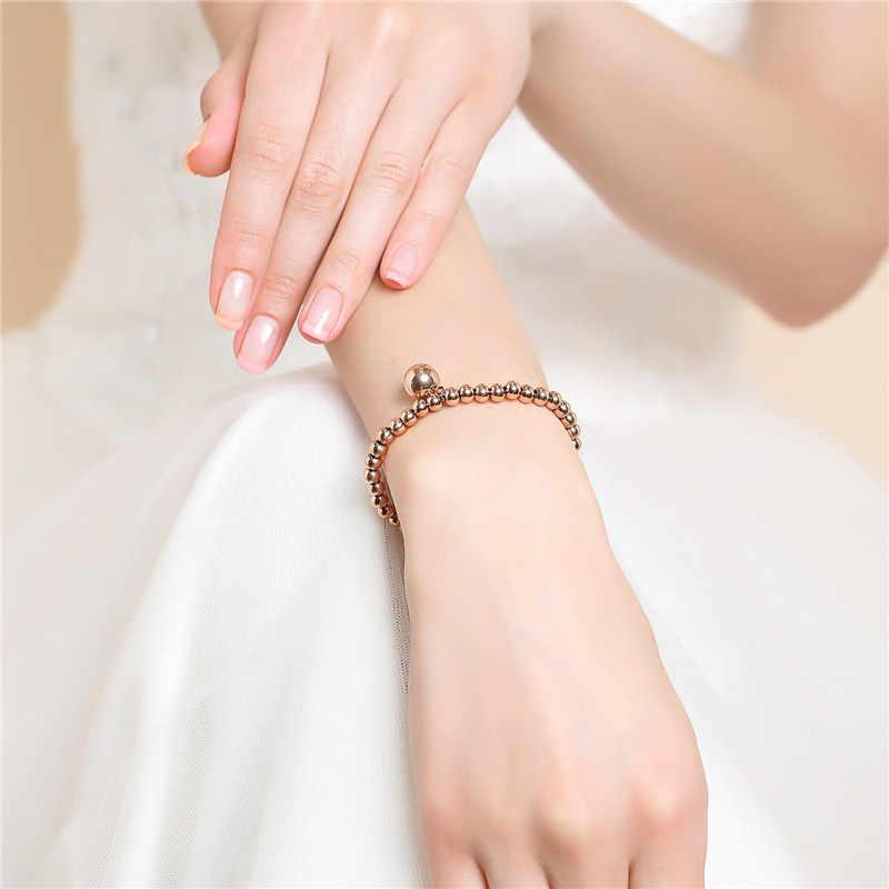 Trendy Rose Rold Gold Silver Stainless Steel Handmade Cute Beaded Stretch Charm Bracelet Women Jewelry Bracelets Wristband Girls