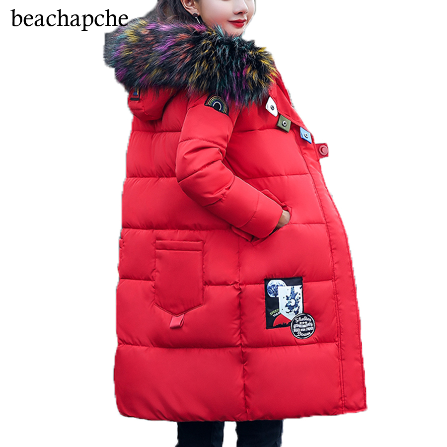 2017 New Winter Jacket Women Coat Warm Slim Thick Long Parkas Good Quality Color Fur Collar Hooded For Women Coats Female Jacket women winter coat leisure big yards hooded fur collar jacket thick warm cotton parkas new style female students overcoat ok238