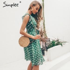 Image 3 - Simplee סקסי V צוואר מנוקדת ירוק קיץ שמלת נשים 2019 מקרית לפרוע midi שמלה אלגנטי חג חוף נקבה vestidos festa