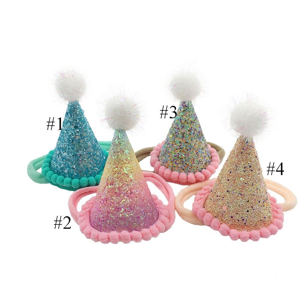 24pc/lot Newborn Birthday Party Headband Princess Tiara Crown headband Kids Pom Pom Headband Glitter Crown Headbands-in Hair Accessories from Mother & Kids    2