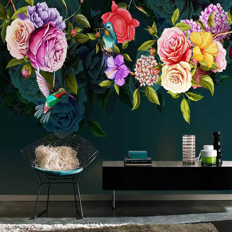 صور خلفيات 3D روز الزهور الطيور الجداريات الأوروبية نمط الرجعية اليد رسمت طلاء جدران غرفة المعيشة التلفزيون أريكة غرفة نوم فريسكو