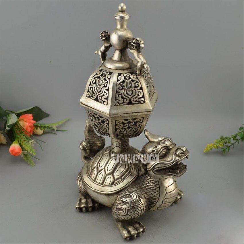 Cuivre plaqué argent ornements bouddhiste Temple brûleur d'encens sculpté Dragon tortue Lion brûleur d'encens/encensoir en métal offre spéciale