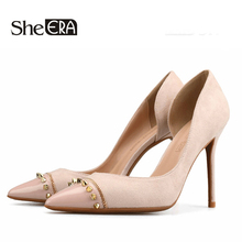 Купить с кэшбэком Women Pumps Classic Rivet High Heels Shoes Fashion Suede Flock Sexy Pointed Toe OL Office Shoes Woman