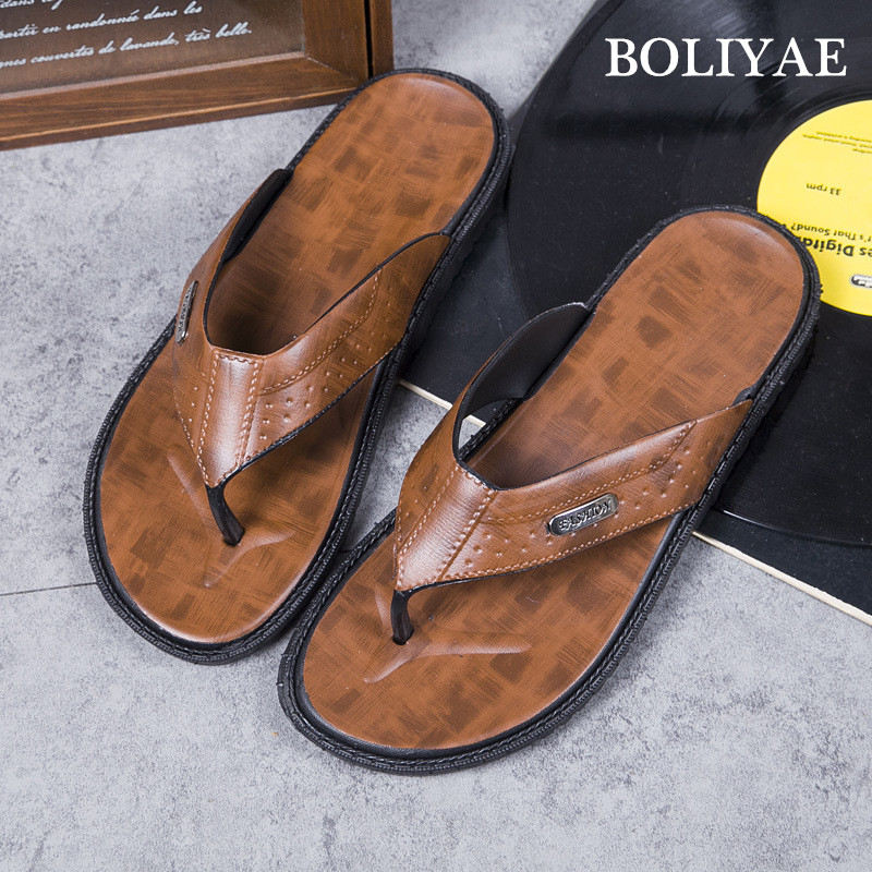2019 New Fashion Leather flip flops Men Beach outdoor Non-slip Breathable For Summer Men Causal Shoes Sandals Male Slippers(China)