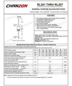 100 шт. RL207 выпрямительный диод 2A 1000 В DO-15 (DO-204AC) осевой 2 ампер 1000 Вольт электронный силикон