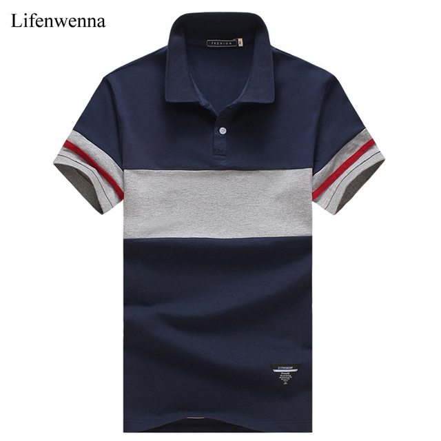 Polo del verano nuevos hombres de la llegada rayó patchwork de manga corta polo camisa para hombre tendencia ropa turn down collar polos 5xl