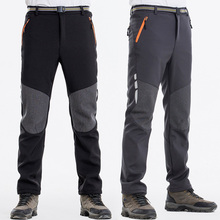 купить NUONEKO Men's Winter Hiking Pants Men Warm Fleece Softshell Trousers Outdoor Sports Thick Trekking Skiing Waterproof Pants PM14 дешево