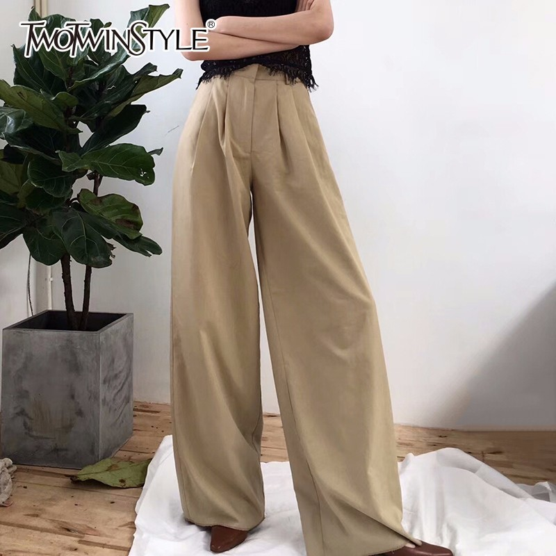 GALCAUR للنساء بنطال ذو قصة أرجل واسعة ارتفاع الخصر سستة جيب كبير  الحجم X طويل بنطلون ربيع أنثى 2018 موضة OL ملابس-في السراويل وبناطيل  الكابري من ملابس نسائية على