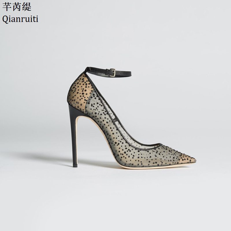 Qianruiti Transparent Lace High Heels Lady Shoes Studded Crystal Stiletto Heels Women Shoes Pointed Toe Ankle Strap Women Pumps qianruiti royal blue stiletto heels women pumps sexy pointed toe women shoes studded crystal high heels bridal wedding shoes
