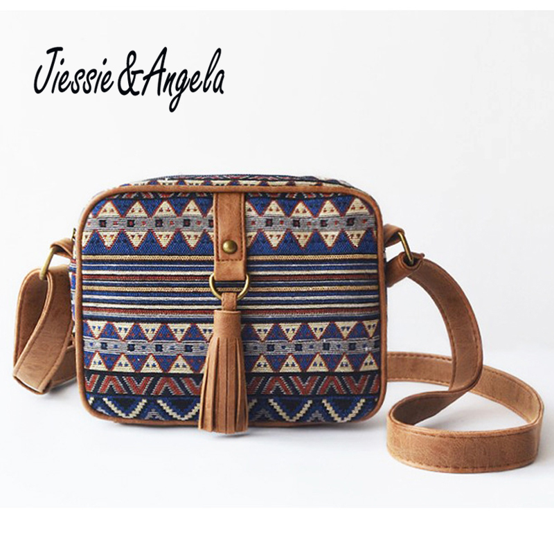 Jiessie & Angela New National Women Bag Canvas Handbag Lady's Messenger Bag Fashion Cross body Shoulder Bags Bolosa free shipping 2016 hot sale national trend bags one shoulder cross body women s canvas handbag embroidered vintage elegant bag