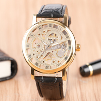 WINNER Hot Brand Hollow Dial Mechanical Wristwatch Black Leather Band Strap Hand Wind Fashion Casual Men