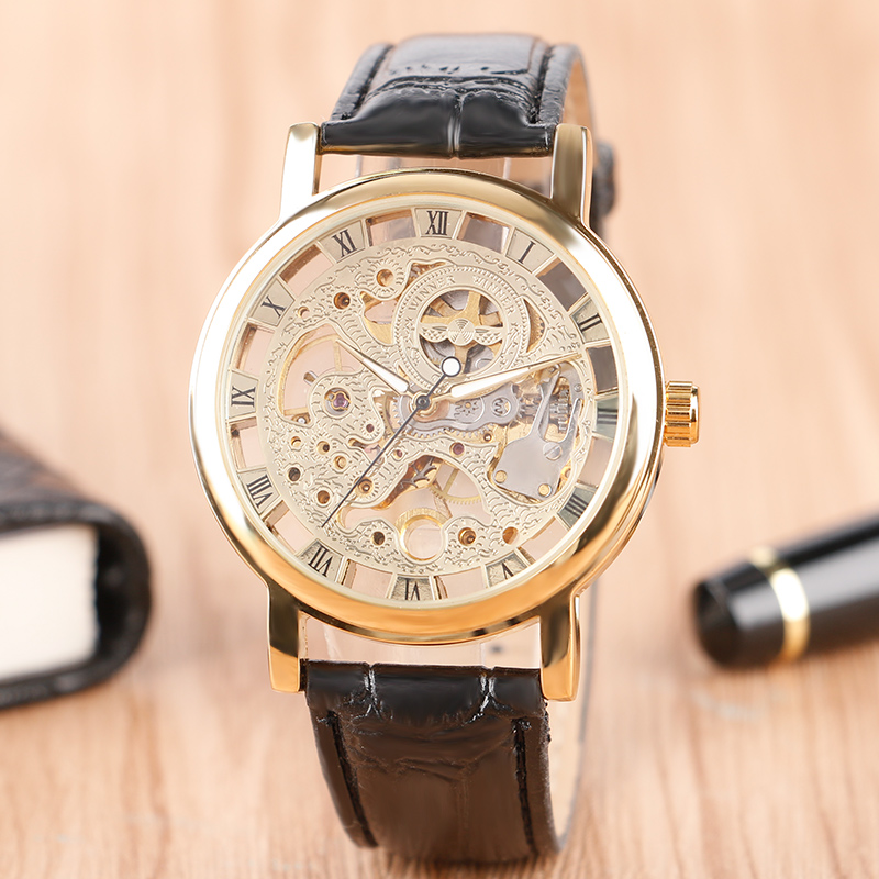 WINNER Luxury Silver Gold Hollow Roman Number Dial Men's Mechanical Watches Black Brown Leather Band Hand Wind Skeleton Watch luxury women hand winding mechanical wrist watch genuine leather band strap dress wind up skeleton roman number stylish
