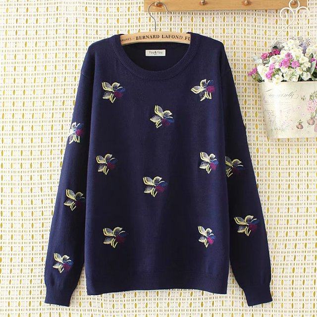 44f37a653bc Plus size 4XL Elastic pullovers knitting Autumn Embroidered women sweaters  2018 long sleeve ladies dark blue