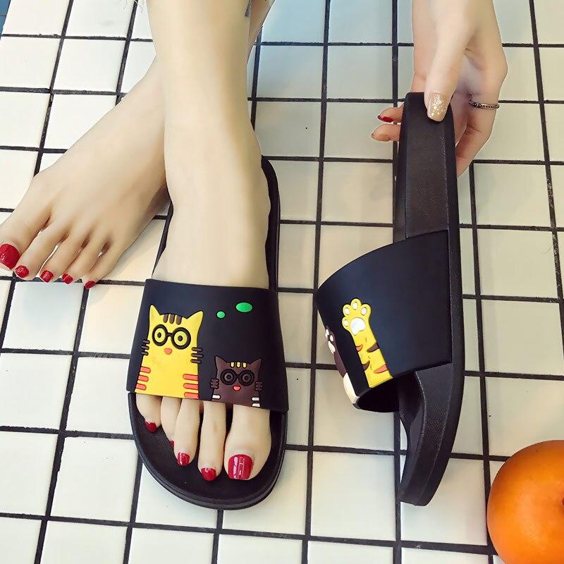 Summer Women Slippers Cute Cat Cartoon Women Slides Platform Sandals Slip On Flip Flops Beach Slippers Zapatillas Mujer