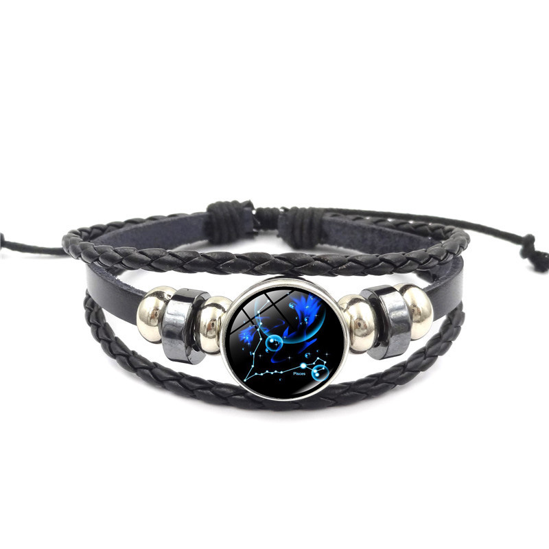 Sale 12 Constellation Leather Bracelets Cosmic starry sky Glass Buckle Snap Buttons Bracelet Bangle For Women Men Handmade in Charm Bracelets from Jewelry Accessories