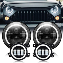 2 pcs 7 inch LED Halo Headlights+2 fog lights For Headlamps with Ring Amber Turn Signal Jeep lada niva 4x4