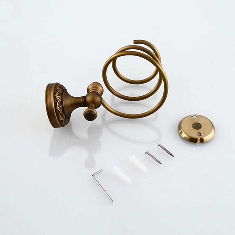 Купить с кэшбэком MADICA 15.5*17.5cm Hair Drier Holder For Shower Room Vintage Brass Blower Holder Metal Bolt Inserting Storage Bathroom Shelves