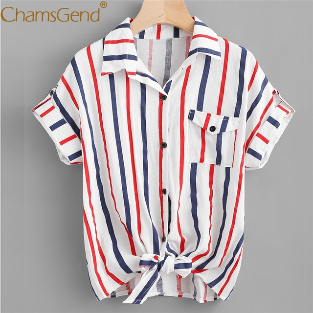 21f01ef8bdd Chamsgend Drop Shipping Women Blue-Red Striped Turn Down Collar Blouse OL Short  Sleeve Button