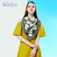 Tira Flor Tulipa Headscarfs Aishidis Mulheres Lenço De Seda Natural Preto Impressão Digital de Alta Qualidade Dom Feminino