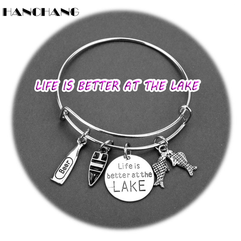 HANCHANG Life Is Better at the Lake Letters Bangle Charms Bangles Bracelets for Women Accessories Cuff Bracelet Jewelry