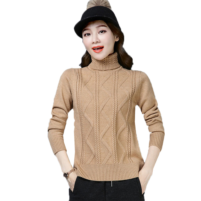 301c531346 Nova Fêmea Camisola de Gola Alta Moda Torção malha pullover Quente Suéteres  Cashmere cor Sólida Outono Inverno Mulheres Tops X785