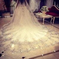 Voile Mariage 3.5 Meter White Ivory Cathedral Wedding Veils Long Lace Edge Sparkle Bridal Veil Comb Bride Mantilla Wedding Veil