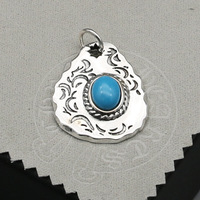 Creative Jewelry Turquoise S925 Sterling Silver Necklace Sweater Chain Big Pendant Men Women Personalized Pendant