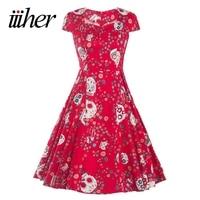 2016 Vestidos 1950 S Vintage Style Women Elegant Cotton Floral Autumn Party Picnic Cocktail Women Dress