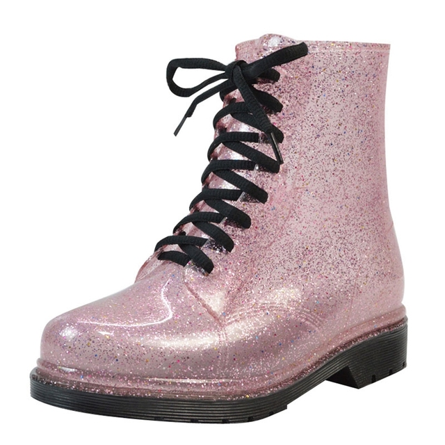 Rain Boots Bling Glitter Platform Women Boots Lace-Up Winter Ankle Boots  Casual Shoes Woman Women Flats Shoes Size 36-40 XWX4356 f818fc44f989