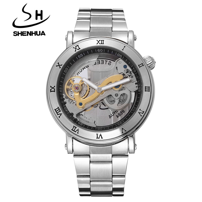 New Mechanical Hollow Watches Men Top Brand Luxury SHENHUA Flywheel Automatic Skeleton Watch Men Tourbillon Wrist Watch For Men купить