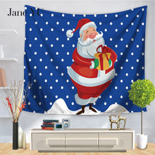 Jane YU 2019 New Arrival Janeyu 100% Polyester Printed Jacquard Woven People Aubusson Tapestry For Christmas Festival