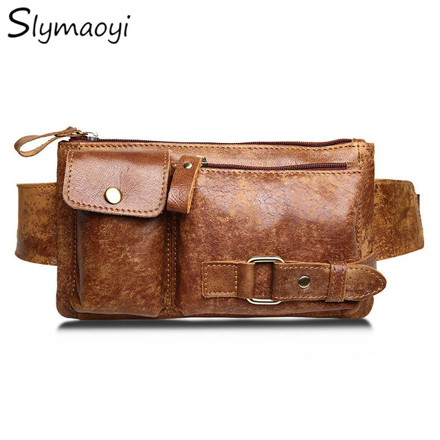 Slymaoyi Genuine Leather Waist Bag Bumbag Unisex Fashion Fanny Pack Male Belt Bags Small Waist Pack Man Crossbody Shoulder Bag