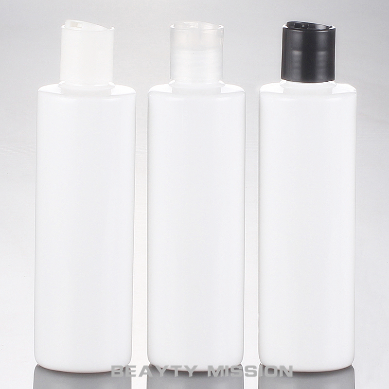 BEAUTY MISSION 24 Pcs 250ml Empty White Plastic Shampoo Bottles With Disc Lid,empty Essential Oils Cosmetic Packaging Shower Gel