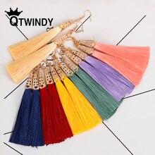QTWINDY Bohemian Long Tassel Earrings for Women Silk Fabric Drop Vintage Fringe Dangle Earring Jewelry Gift