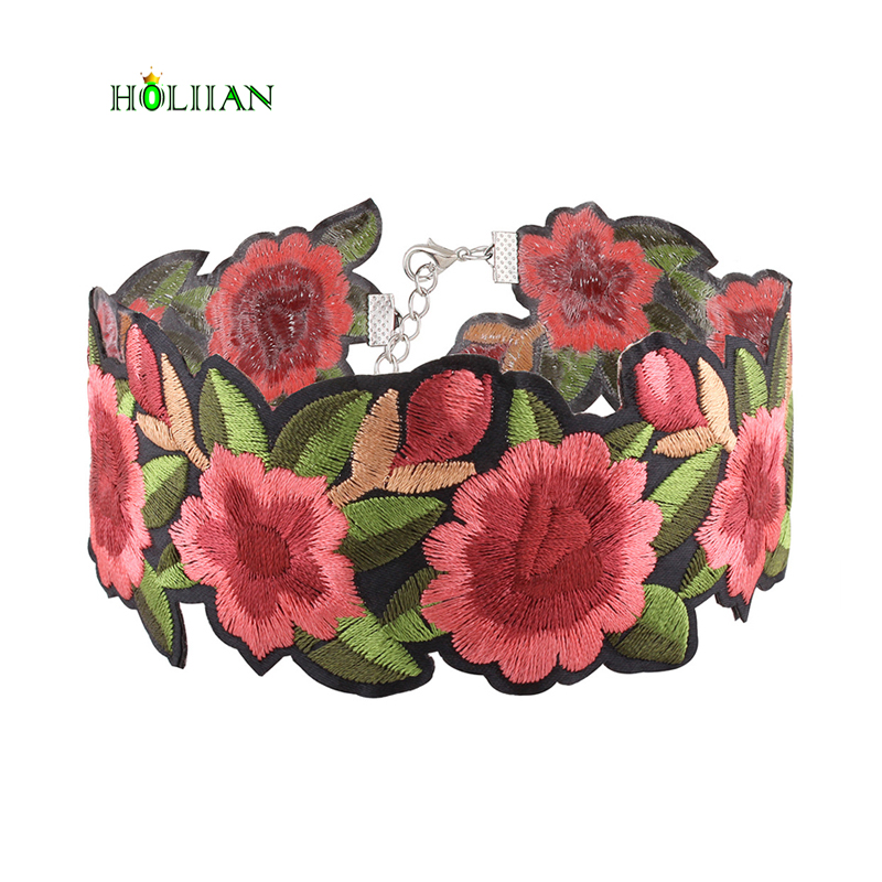 For women ethnic chokers necklace red flowers embroidery boho jewellery female romance bohemia accessories maxi jewelry chockers