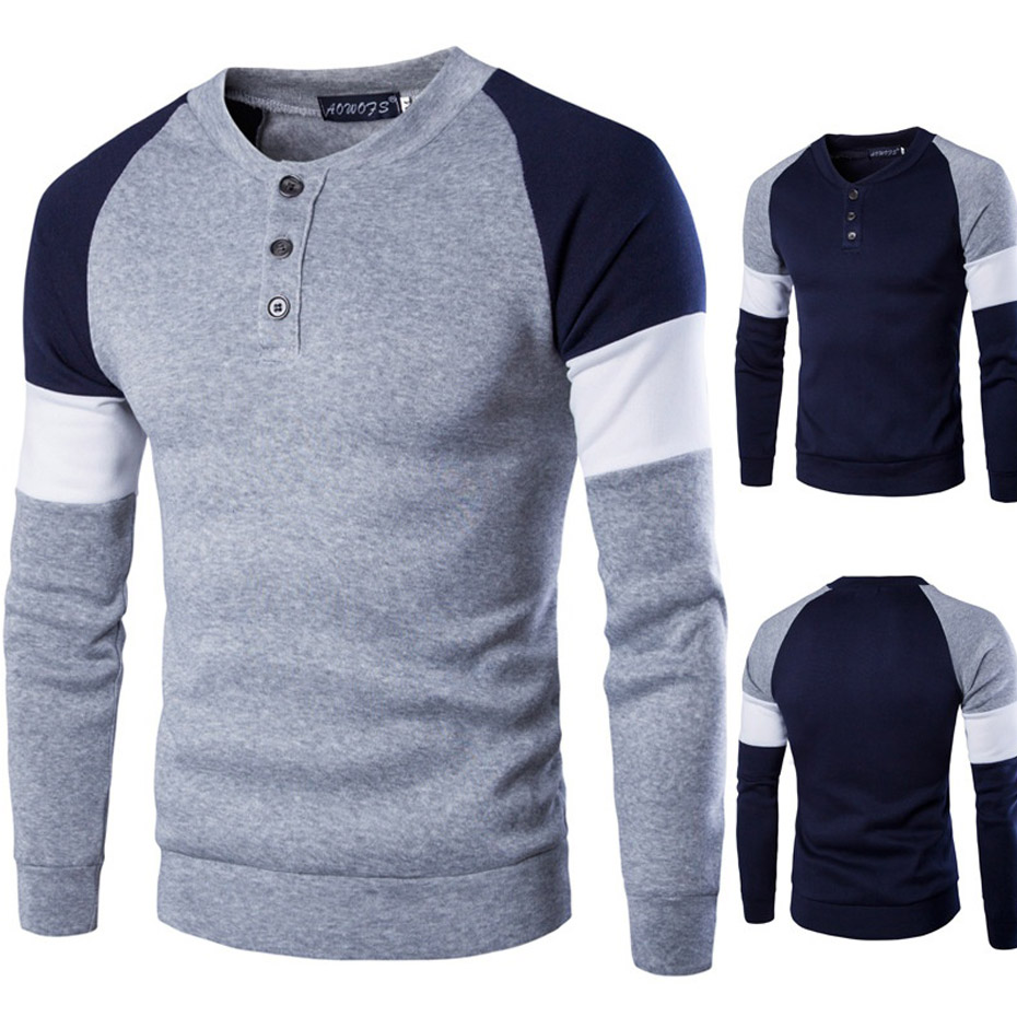 Zogaa 2019 nouveau col rond hommes T-Shirt style décontracté impression marque vêtements hommes à manches longues T-shirt Patchwork coton T-shirt hommes